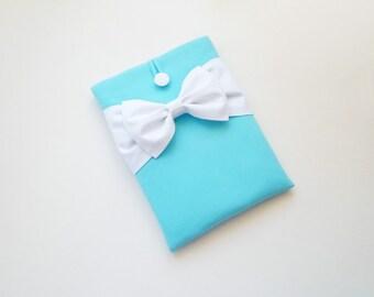 iPad Mini Case,Kindle HD/ Kobo/ eReader/ Nexus 7 Sleeve,Custom Tablet Cover, Lightweight, Handmade and Padded -Turquoise,White Double Bow