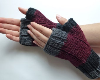 Fingerless gloves men women, wool from Canada burgundy black dark grey hand knitted, fall winter accessories