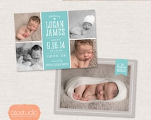 Birth Announcement Template Photo Collage -  Elegant Baby CB024 - PSD Flat Card
