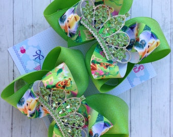 TINKERBELL BOW - Tinkerbell Costume - Tinkerberll Party - Tinkerbell Birthday - Fairy Bow - Fairy party - Fairy Costume - Tiara - Girls bow