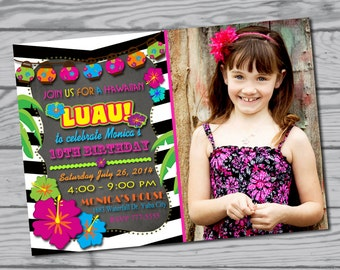 luau invitation / Hawaiian invitation / birthday party / Hawaiian party