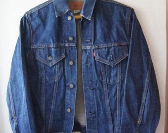 Levis denim jacket ,LEVI'S BIG E ,Dark Denim Jeans Jacket , Vintage levis men's Jacket , levis size M ,60's 70's  free shipping