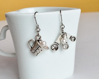 Antique Silver Measuring Spoons Cup Stainless Steel Earrings, Fun Dainty Drop Dangle Earrings E82