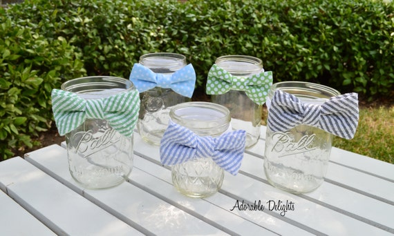 set of 8 baby shower bowtie decorations elastic band bowties