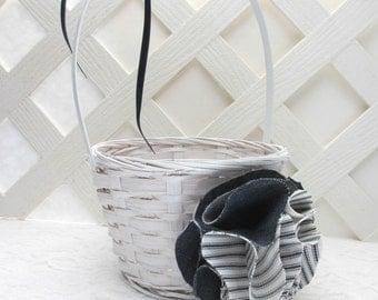 Nautical Flower Girl Basket, Nautical Wedding, Denim Wedding Basket, Matching Items Available