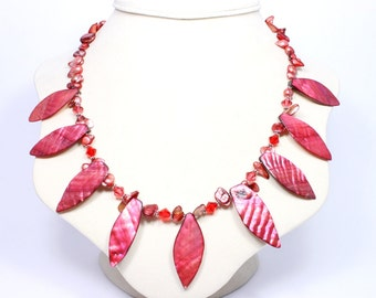 Red Shell Statement Necklace - Mother of Pearl Swarovski Crystal Necklace - Red Beaded Necklace - Tribal Statement Necklace - Fall Jewelry