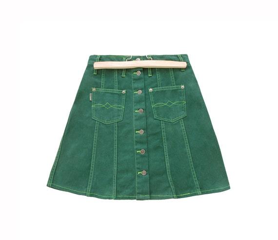 green denim mini skirt summer autumn fashion