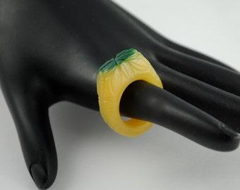 Vintage Flower Ring Resin Cast Two Tone Resin Ring