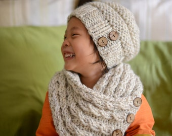 Toddler Slouchy Beehive Hat and Cocount Button Cabled Neckwarmer Set YOUR COLOR CHOICE, Knitted Toddler Hat, Kids Knit Cowl Scarf, Beanie