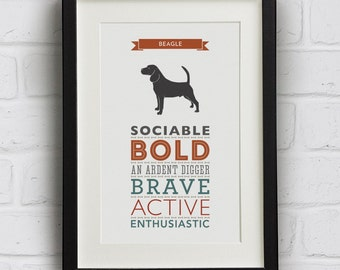 Beagle Dog Breed Traits Print - Beagle Gift