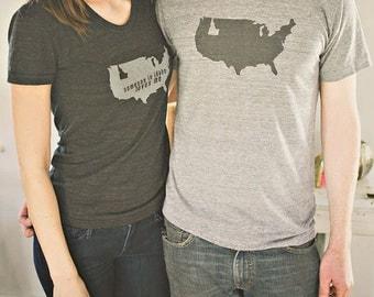 IDAHO is a State Men's T-shirt / Tri-Blend Shirt / Idaho Map / Idaho Souvenir / Idaho Screen Print / Boise Idaho / USA Made /Someone Apparel