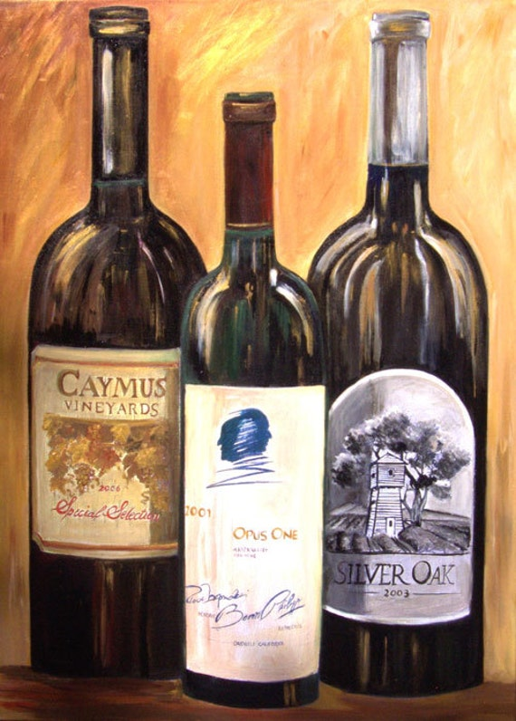 Wine bottle painting opus one caymus and silver oak giclee for Painting of a wine bottle