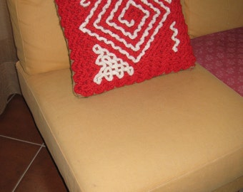 cushion cover red green white crochet