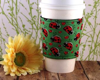 Fabric Coffee Cozy / Ladybug Coffee Cozy / Coffee Cozy / Tea Cozy