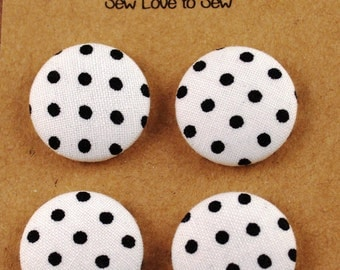 Fabric Covered Button Magnets / Black Polka Dots Magnets / Polka Dot Magnets / Strong Magnets / Refrigerator Magnets / Fridge Magnets