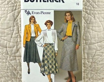 Jacket Skirt Blouse, L, Butterick 3478 Pattern for Women, Evan Picone, Lined, Princess Seamed, Fitted, Flared, 1985 Uncut, Size 16