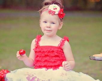 Red Cherry Headband, Red and White Flower Headband, Cherries Headband, Cherry Pie, Newborn Headband, Toddler Headband, Photo Prop