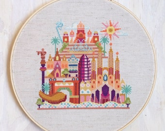 Pretty Little Barcelona - Satsuma Street Modern cross stitch pattern PDF - Instant download
