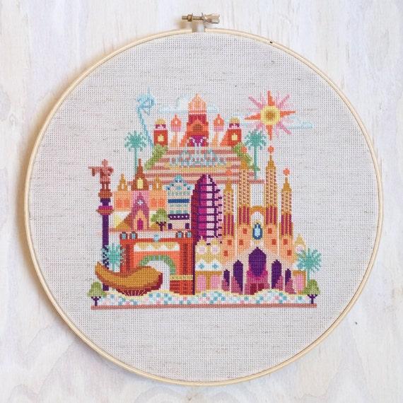Pretty Little Barcelona - Modern counted cross stitch pattern PDF - Instant download