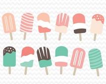 summer popsicle clip art - set three