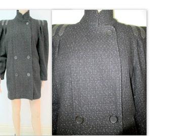 1980's Ladies Coat,  Black Coat,  David Benjamin Coat, Tweed Wool Jacket, Car Coat, Winter Coat, Never worn, Ladies jacket, Ladies Coat