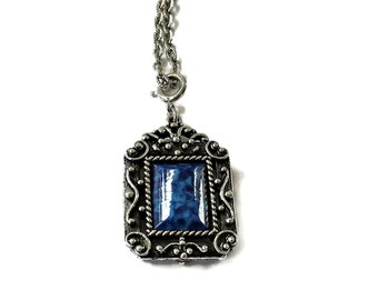 Blue Pendant Necklace Lucite Ornate Setting Signed Sarah Coventry Multi Chain