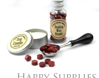 80pcs (SW12-G) Shimmering Burgundy Red  Sealing Wax Beads in Bottle for Wax Seal Stamp, Gift Pack, Spoon & Candle Available for Set.