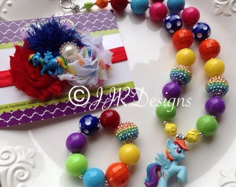 My Little Pony Inspired Girl Necklace- Rainbow Dash-Chunky-Bubble Gum Necklace
