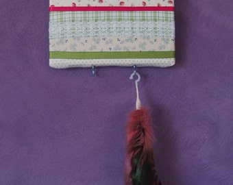 Handmade Jewellery Hanger -- Green Material and Lace Jewellery Wall Hanger