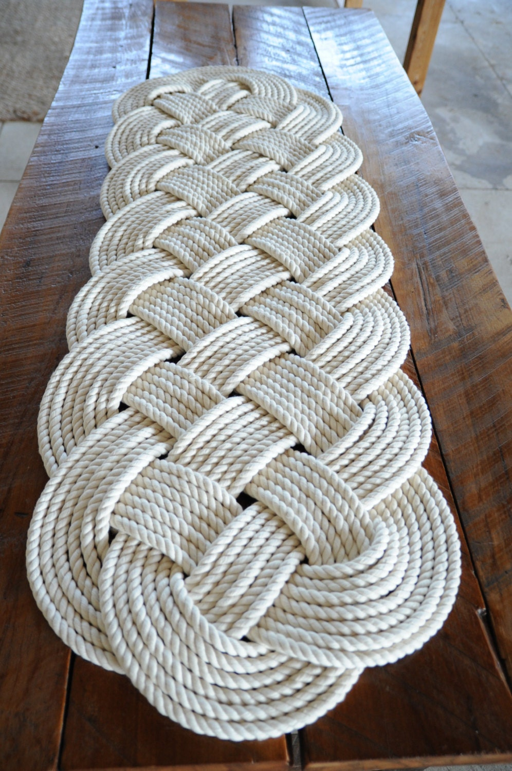 Nautical rope rug large bath mat off white 100 cotton for Large nautical rope