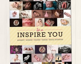 """66 Images. Year in Review Collage Board 24x48"""" - Photoshop Template for photographers (YIRB66) - Instant DOWNLOAD"""