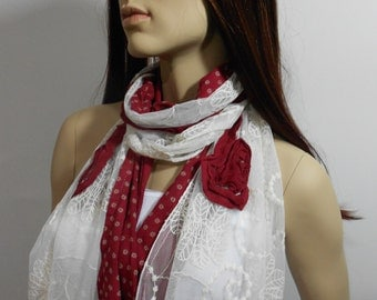 Tulle Scarf Shawl Lace Cowl Scarf Red Scarf Valentines Day Gifts Women Fashion Accessories Christmas Gift Ideas For Her Bridesmaids Gift