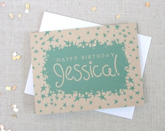 Star Pattern Custom Name Happy Birthday Card / Customizable Hand Lettered Birthday Card / 3 Color Options / Card for Her / Best Friend Card