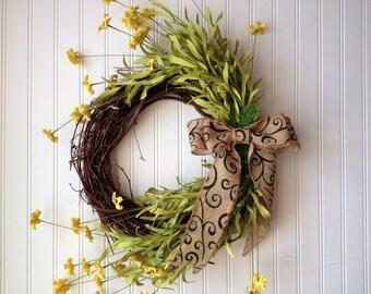 Yellow spring wreath, spring wreath, wreath for spring, front door wreath, door wreath, wreath, wreaths, summer wreath