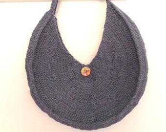 hot air balloon, blue crochet bag semicircular