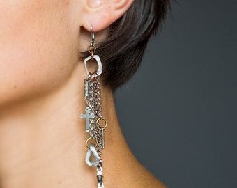Mixed chains statement earrings, boho chain pendant earrings, silver cross charms, bold silver chain earrings