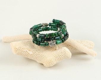 Natural stones bracelet - green chryzokola, metal beads, owl charms, semi precious stones, beaded jewelry, beaded bracelet, beaded jewellery