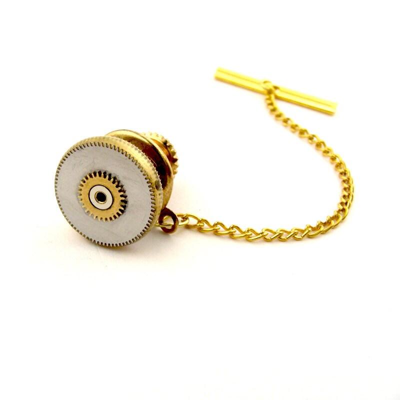 Vintage Gear Tie Tack Gold Steampunk Lapel Pin Clockwork