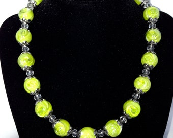 Light green lampwork and crystal bead choker.