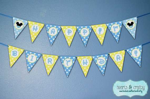 Baby Mickey Mouse Happy Birthday Banner By Heartsandcraftsy