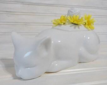 Vintage kitty cat flower holder or knitting needle holder made in