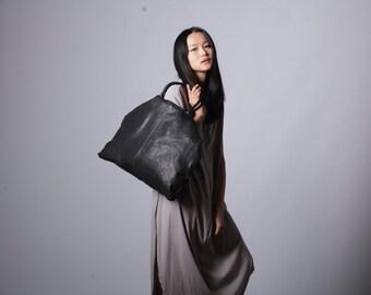 Black Leather oversized bag, oversized Tote Bag ,Shoulder Bag, Travel Bag , Crossbody Leather Bag