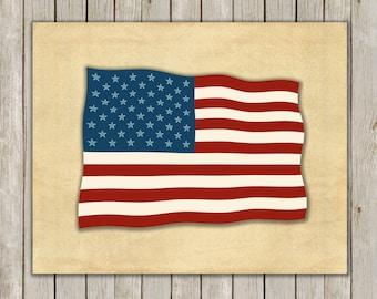 8x10 Flag Art Print, United States of America Printable, Inspirational Wall Art, Flag Poster, Flag Art, Home Decor, Instant Digital Download