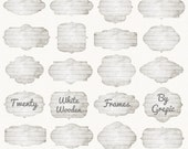 "Wood Frames Clipart: ""WHITE WOODEN FRAMES"" Wooden labels, distressed wood buttons, grey wood, light, digital tags, clip art pack, borders"