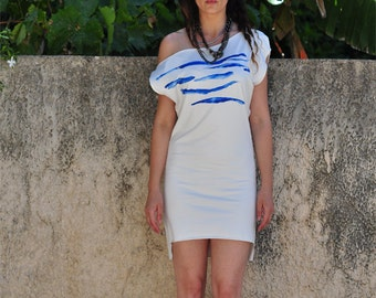 AIGEO White and Blue Wave print Dress/ High low hem Mini Dress/ Asymmetric Sleeves dress