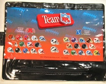 90s New Zipper Pencil Case Football Team NFL ring binder School Supply notebook old stock fan gear back to kids gift unused sports