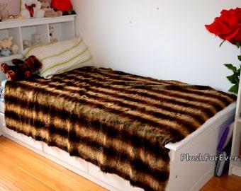Chinchilla Bedspread Dark Brown Tan Beige Stripes Faux Chinchilla Fur Bedspread Bedding Blankets Comforters Coverlets Bedding