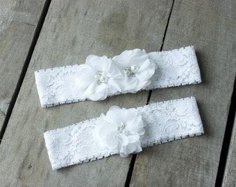 White Wedding Garter Set, Bridal Garter, Wedding Garter, Shabby Chic Garter