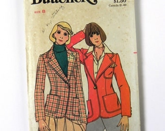 SIZE 8 5725 WOMEN'S BUTTERICK Sewing Pattern 1970s Vintage Misses' Jacket Blazer Fitted Tailored Ladies Womens Sewing Suit Coat Button