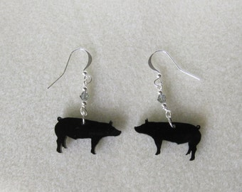 Original Design Black Pig Earrings with Swarovski Crystal